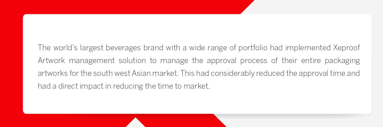 The world's largest beverages brand with a wide range of portfolio had implemented Xeproof Artwork management solution to manage the approval process of their entire packaging artworks for the south west Asian market. This had considerably reduced the approval time and had a direct impact in reducing the time to market.